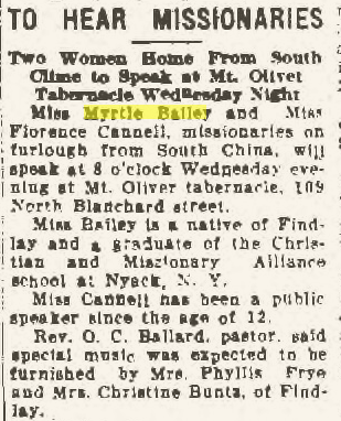 "Climbing My Family Tree: ""To Hear Missionaries"" Findlay Republican Courier, 24 November 1930, p3"