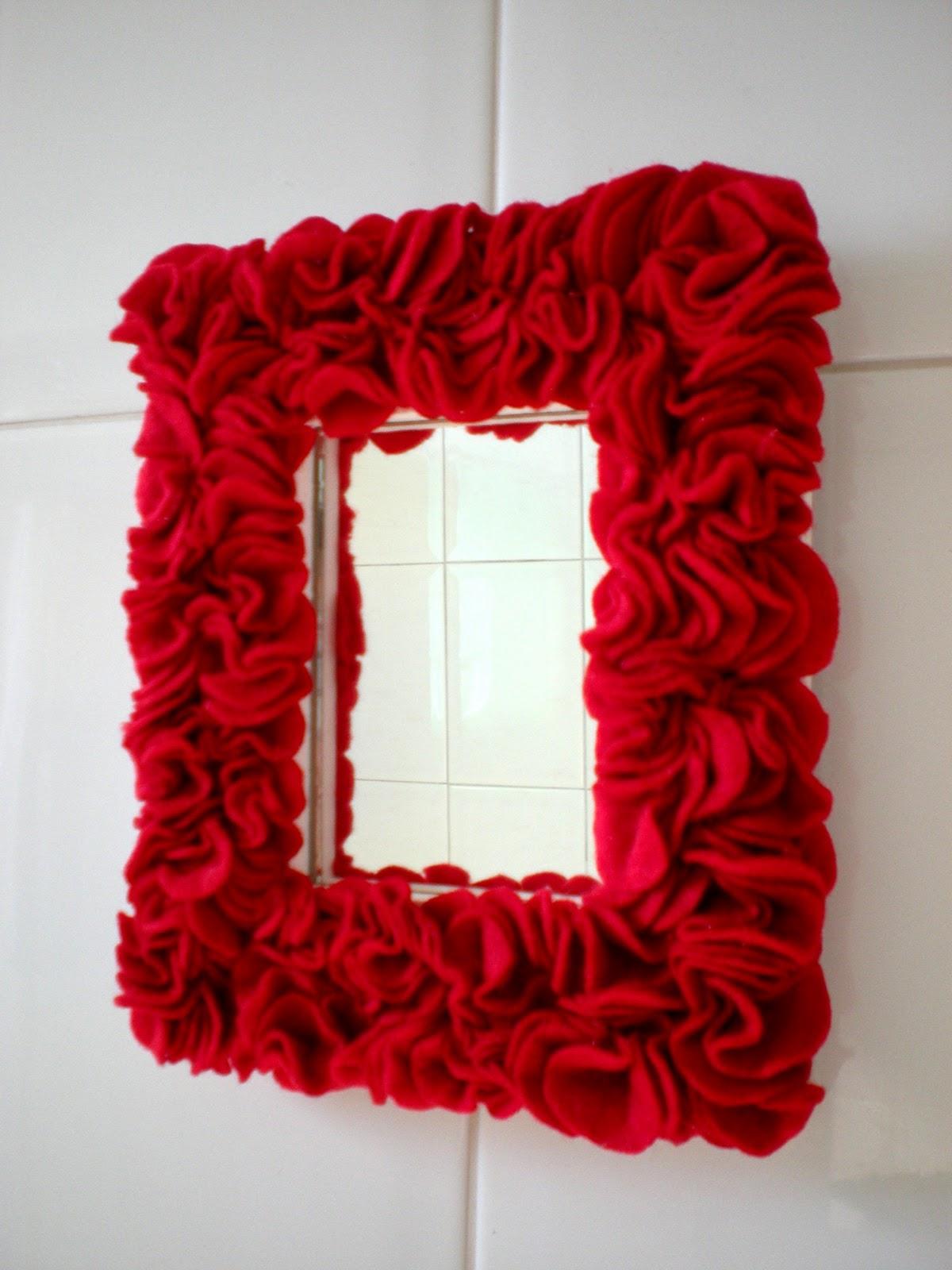El bazar de agustina espejo con borde de pa o lenci rojo for Espejo con borde biselado