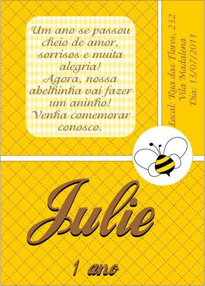 Três Meninas Design Convite Infantil Tema Abelhinha