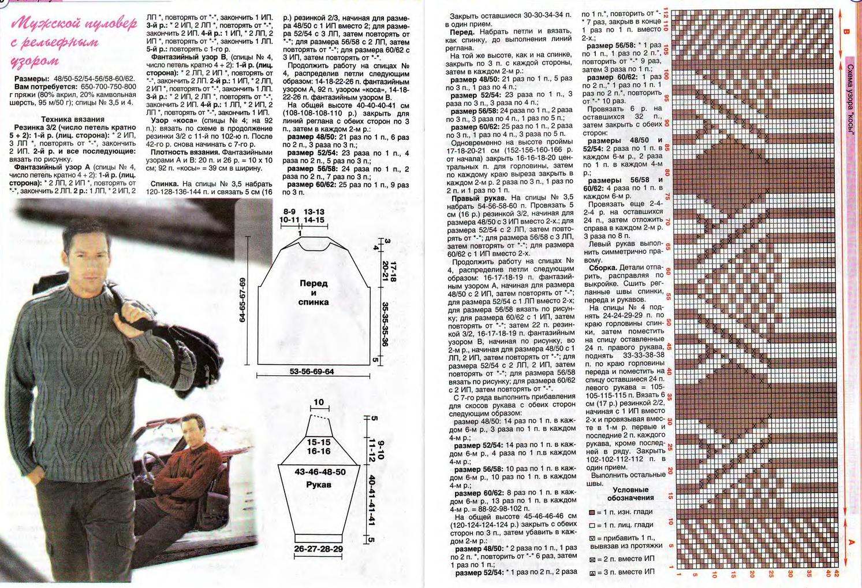 Вязание мужского свитера схема