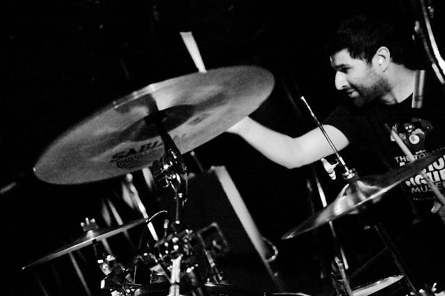 Rural Alberta Advantage drummer Paul Banwatt doing his thing at Hi-Dive.