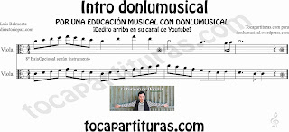 Partitura de la Intro donlumusical para viola en clave de do en 3º línea donlu sheet music