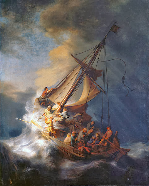 "Picture of the painting ""The Storm on the Sea of Galilee"" by Rembrandt van Rijn, 1633, stolen from Isabella Stewart Gardner Museum, Boston"