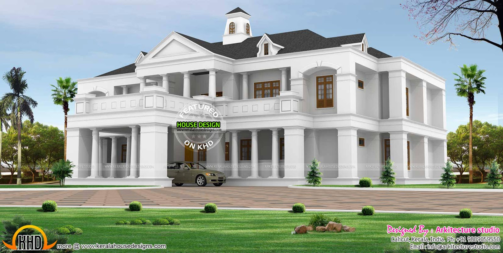 Pillar type sloping roof colonial home plan kerala home for Colonial style home design in kerala