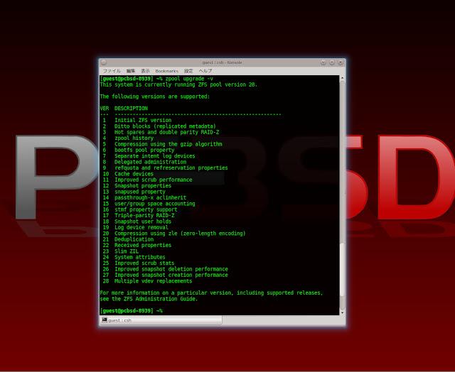 Konsoleから zpool upgrade -vとコマンドを入力するとサポートしているZFSバージョンがわかります。
