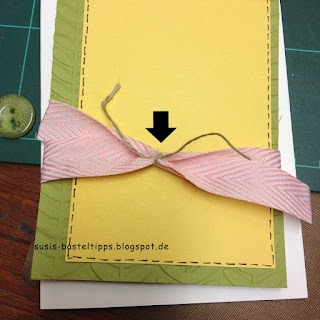 Tipp für Karten mit Bändchen, die zu kurz für einen Knoten sind