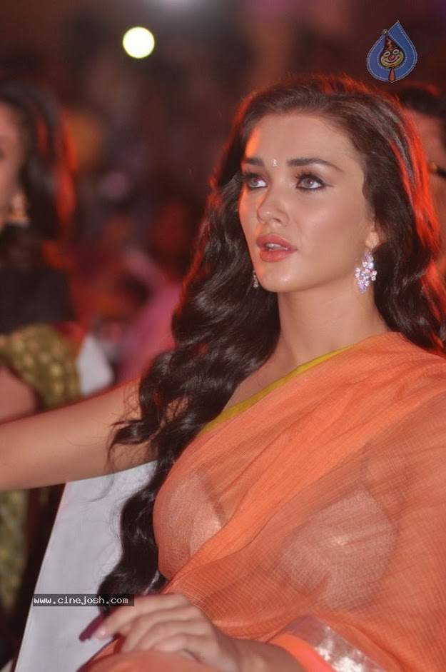 Amy Jackson in orange transparent saree - (11) -  Amy Jackson in Orange Transparent Saree at event