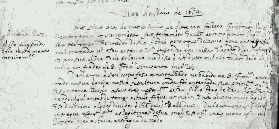 Registro de óbito do Capitão Christovão Vaz - 1654