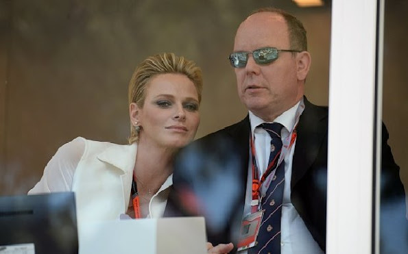 Prince Albert of Monaco and Princess Charlene of Monaco attended the Monaco Formula One Grand Prix at the Monaco street circuit in Monte-Carlo