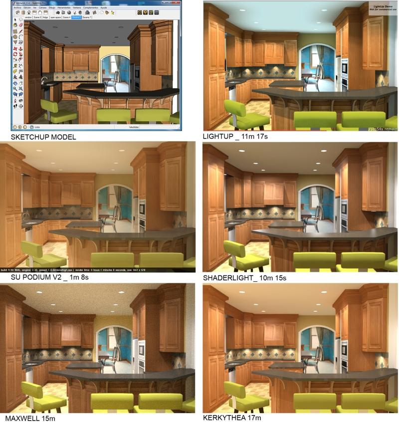 sketchup for interior design five rendering plugins comparison part 2