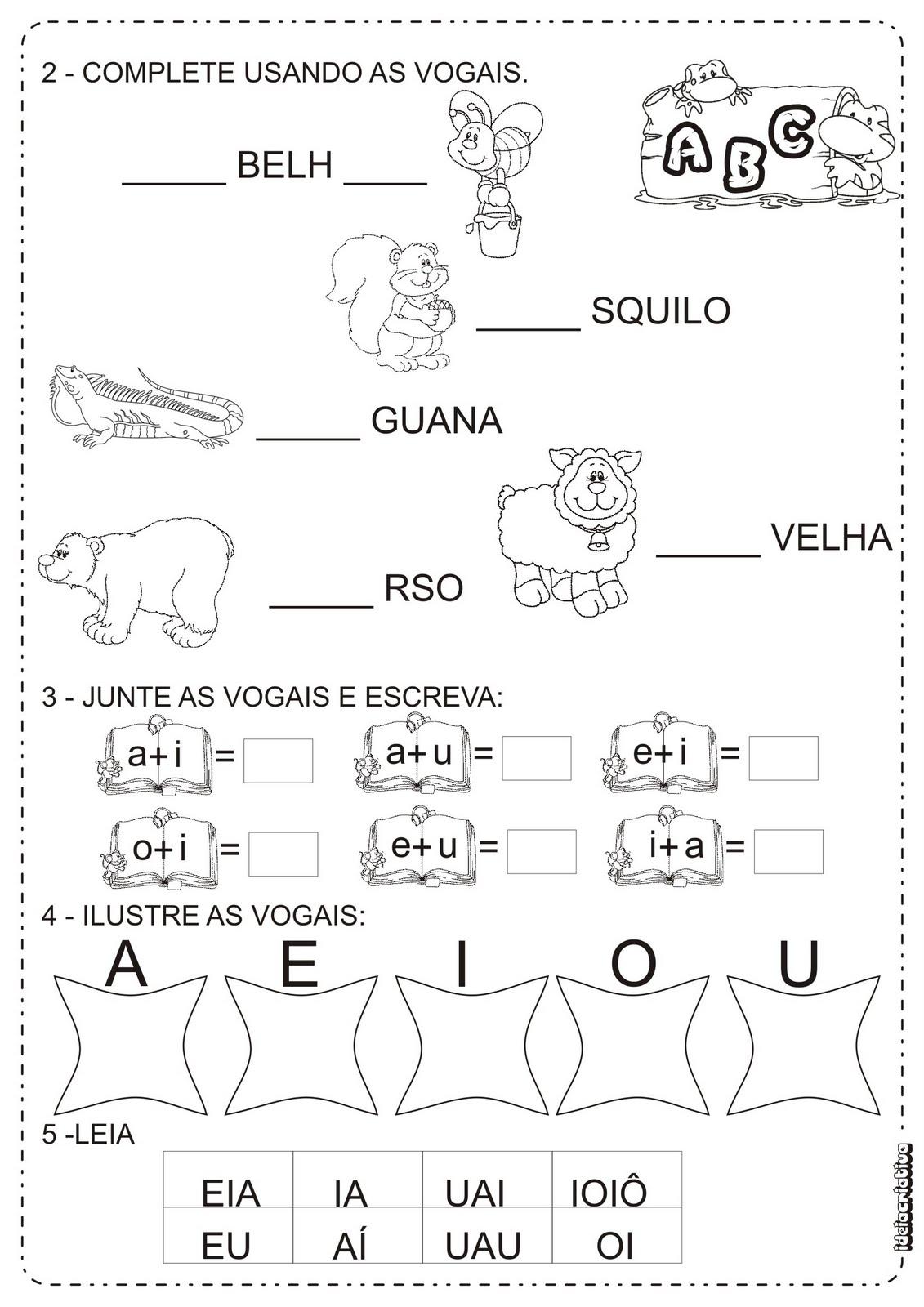 Atividades Vogais Projeto Mergulhando Na Lingua Portuguesa Atividade