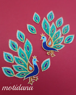 aari work , peacock motif, Indian embroidery