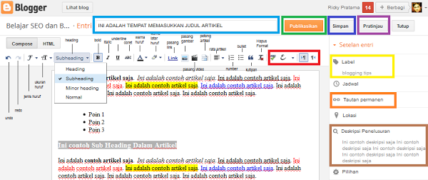 Gambar1:Cara Membuat Artikel di Blogger