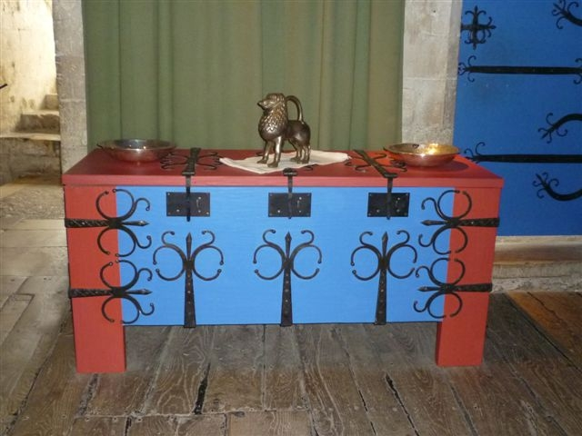Painted Coffer With Elaborate Iron Banding, Locks And Hinges, Again Ready  For Quick Moves To The Next Castle.