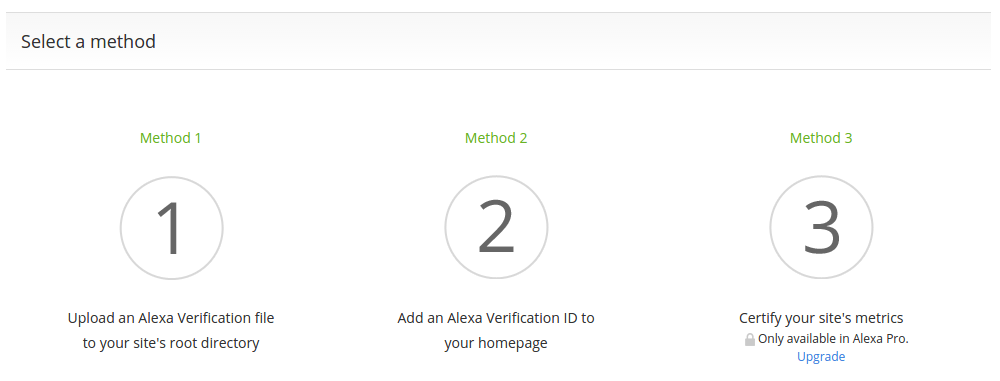 Pilih Metode Claim Site Alexa