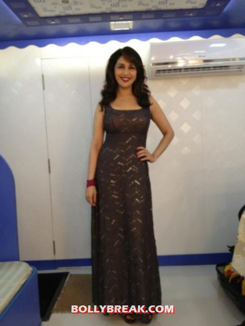 Madhuri in a long maxi dress -  Madhuri Dixit -Behind The Scenes -Jhalak Dikhhla Jaa