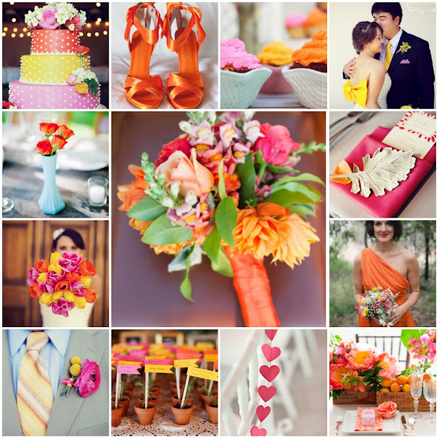 orange pink and yellow wedding