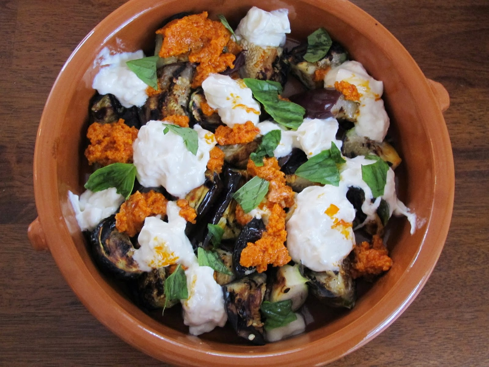 Grilled Eggplant with Burrata Cheese and Romesco Sauce