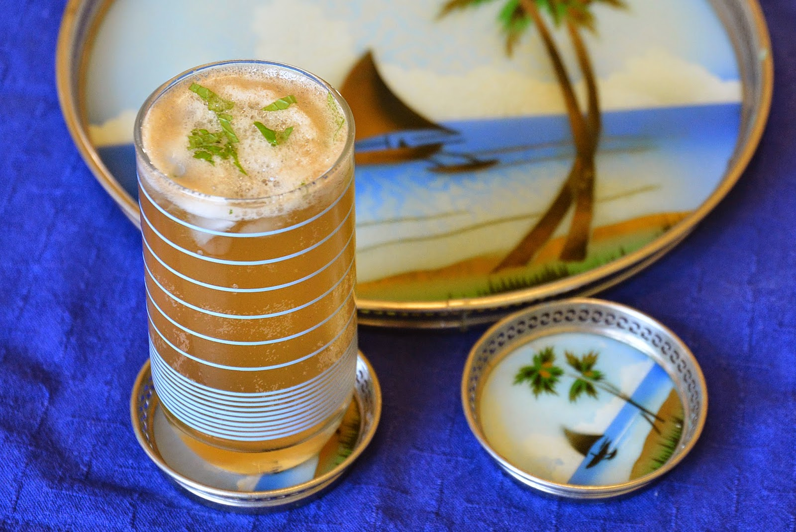 ... punch (I used pineapple); gingerbeer; chopped mint; soda; fruit; ice