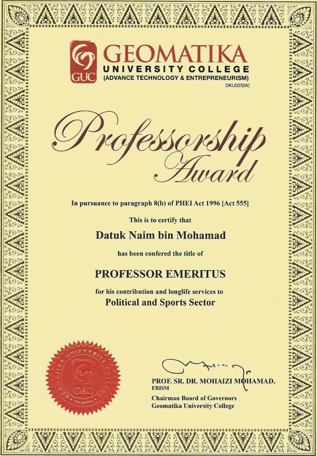 Professorship Award