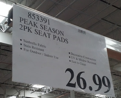 Deal for the Peak Season Sunbrella Outdoor Seat Pads for outdoor seating at Costco
