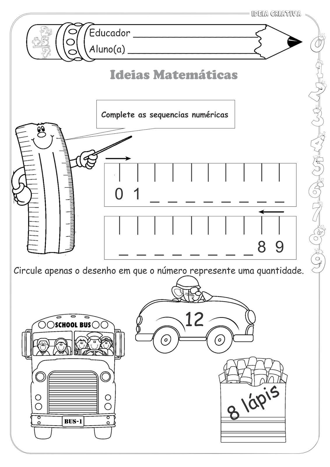 Atividades Educativas Sequência Numérica Medidas de Comprimento Matemática para Ensino Fundamental