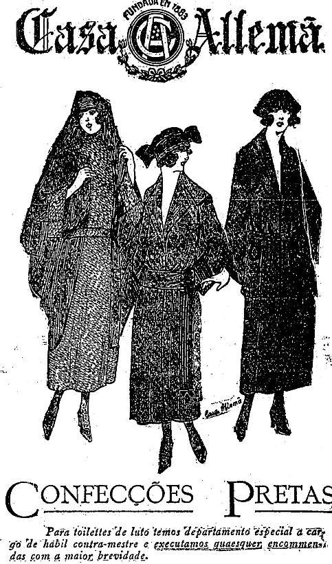 Propaganda da Casa Alemã nos anos 20 com coleção de roupas para dias de luto.