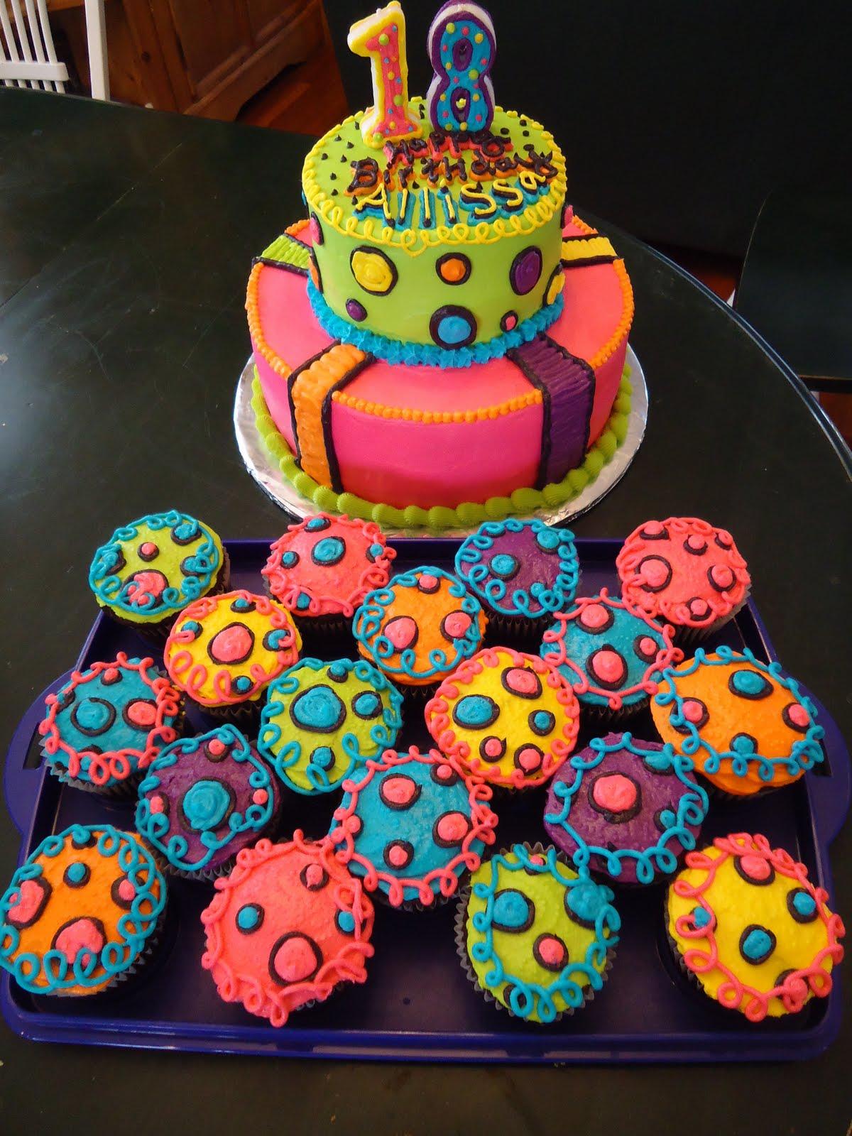 Cats Cake Creations NEON Lights BRIGHT Birthday