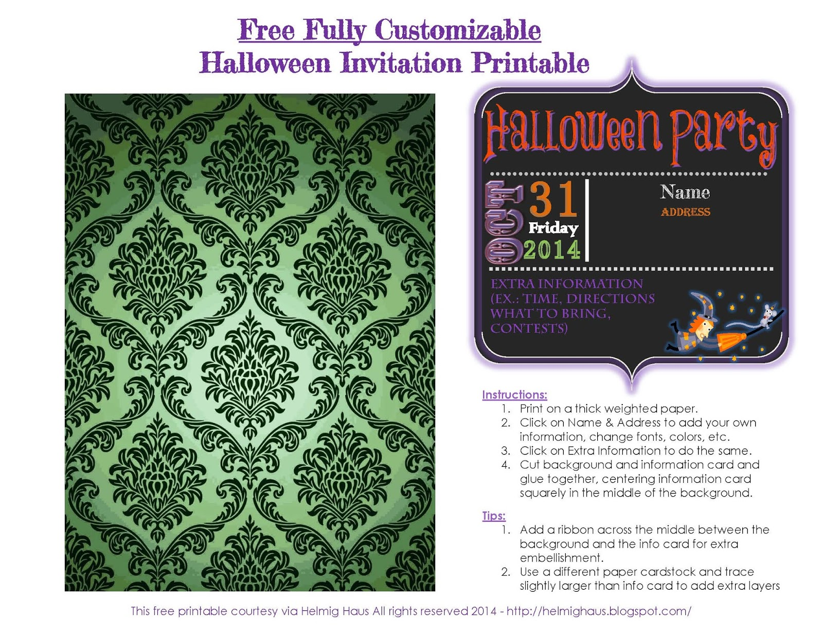 Free Halloween Invitation Printable via Helmig Haus   http://helmighaus.blogspot.com/