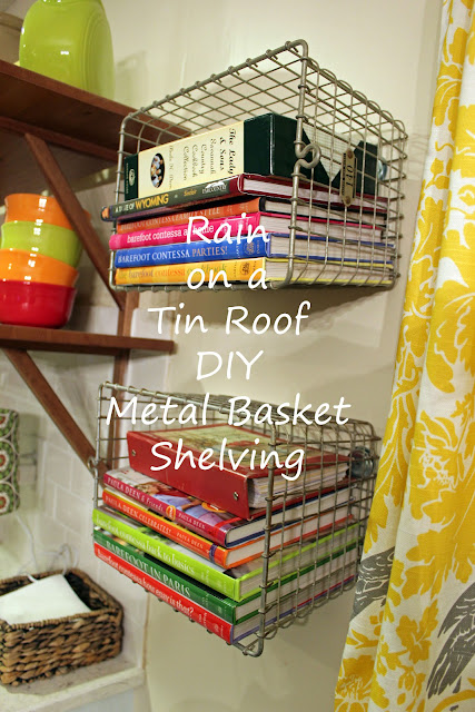"alt=""Transform metal baskets into shelves"""