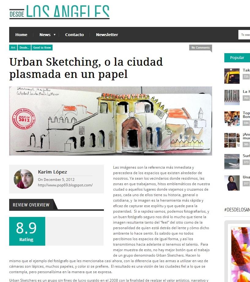 Urban sketchers rep blica dominicana art culo sobre usk for Revistas de arquitectura online