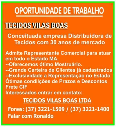 OPORTUNIDADE DE TRABALHO - TECIDOS VILAS BOAS