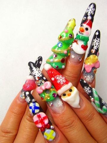 fashion and art trend christmas nail art design
