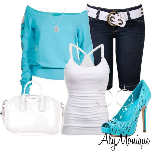 Blue sweater, white blouse, long shorts, high heel sandals and white hand bag for ladies