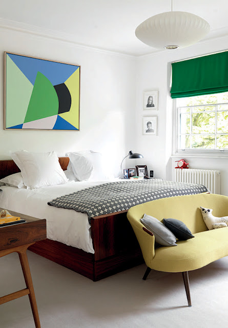 Irenie Cossey's bedroom with George Nelson lamp and vintage couch upholstered in Bute, photographed by Tim Young