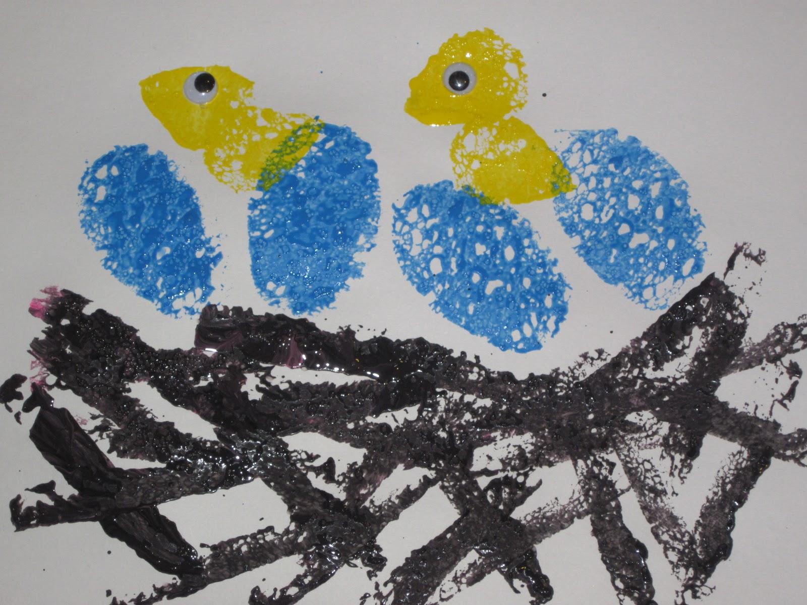 Sponge painting green for Baby bird nest craft