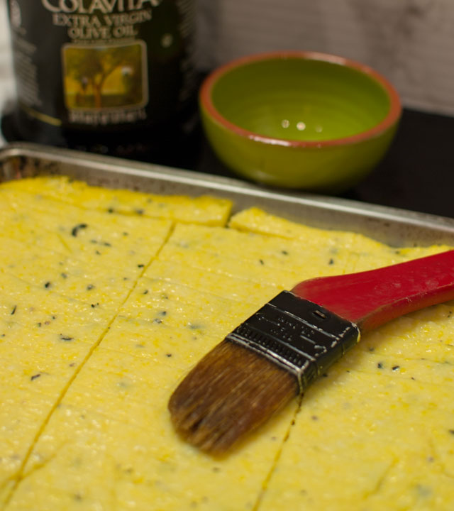 making herbed polenta fries