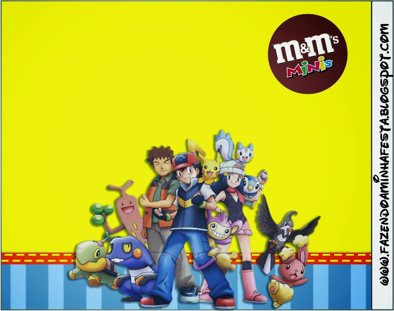 Etiquetas M&M  de Pokemon para imprimir gratis.
