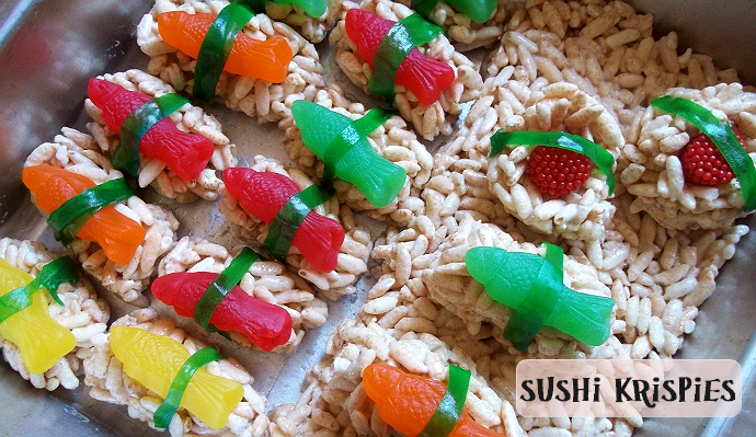 Sushi Krispies for a fun party snack kids will lvoe to make!