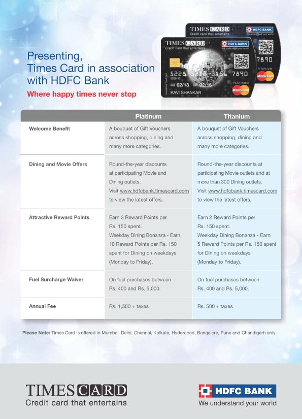 Times card launched in association with hdfc bank mumbai newsbox entertainment experience said mr parag rao senior executive vice president and business head credit cards merchant acquiring services hdfc bank reheart Images