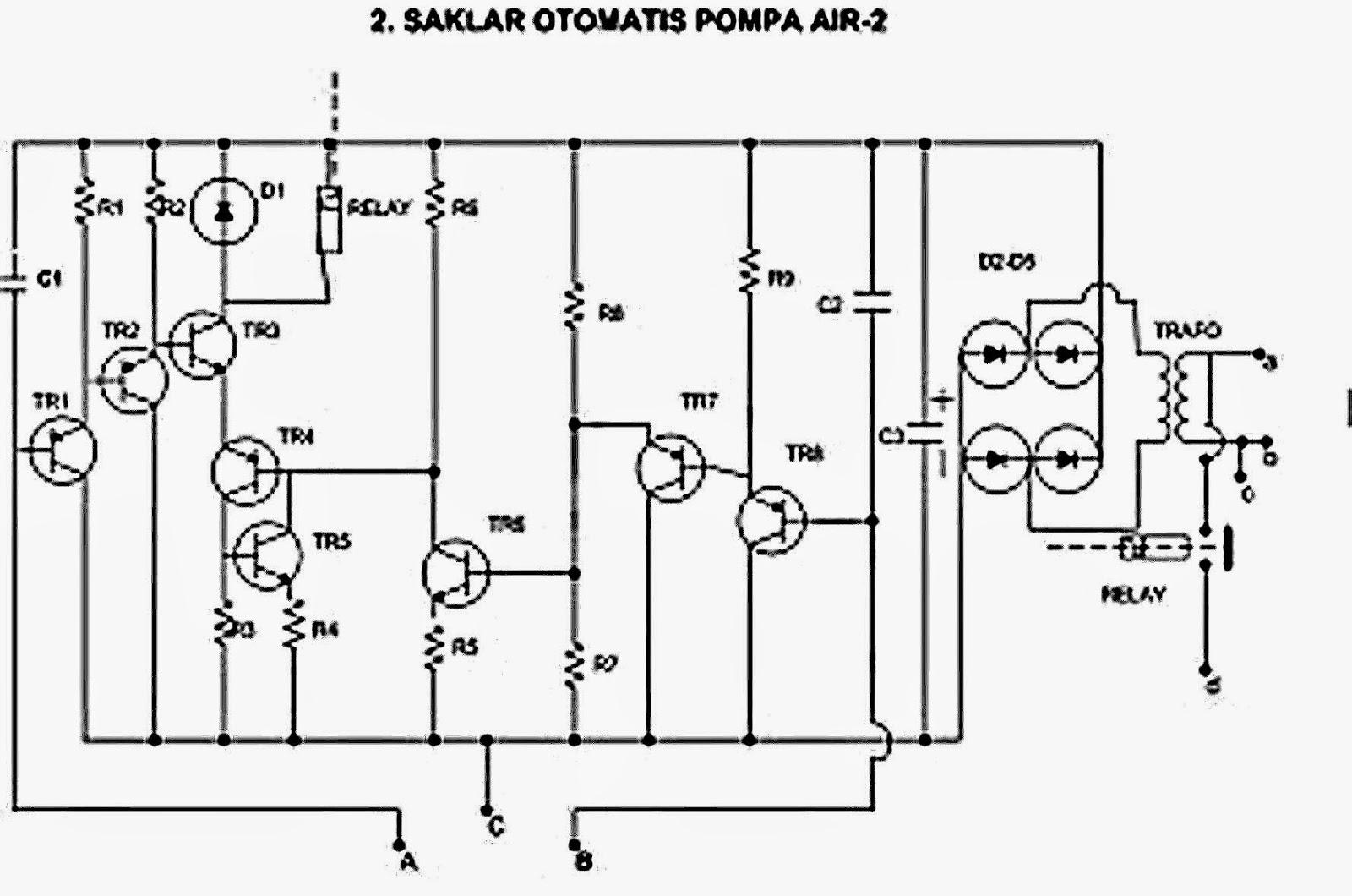 Rangkaian SAKLAR OTOMATIS POMPA AIR (Sensor pendeteksi tinggi rendahnya air)