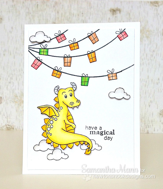 Dragon card by Samantha Mann for Newton's Nook Designs | Magical Dreams Stamp set