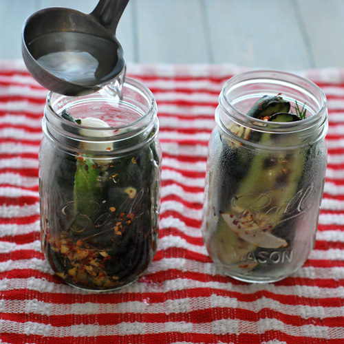 grilled sweet and spicy pickles,