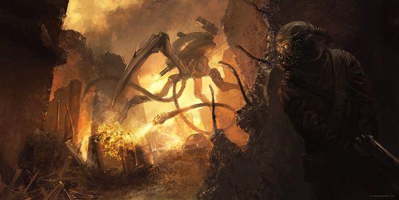 Geoffroy Thoorens djahalland deviantart ilustrações arte conceitual guerras futuristas batalhas tecnologia Máquina de guerra