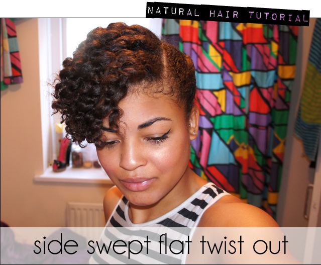 Natural Hair or Transitioning Hair Tutorial- Side swept Flat Twist Out ...