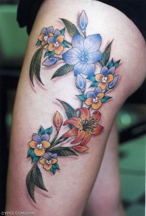 tattoos online. thigh tattoo ideas fine art-
