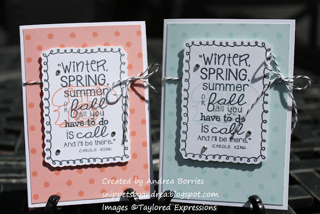 Cards made with Let's Chat stamp set (from Taylored Expressions).