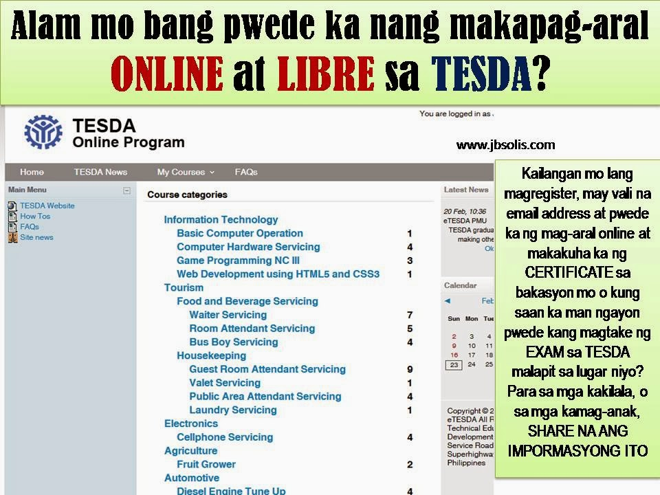 FREE STUDY ONLINE WITH TESDA ANYWHERE YOU ARE