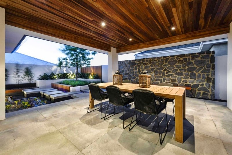 Design of terrace style with stone and wood roofing