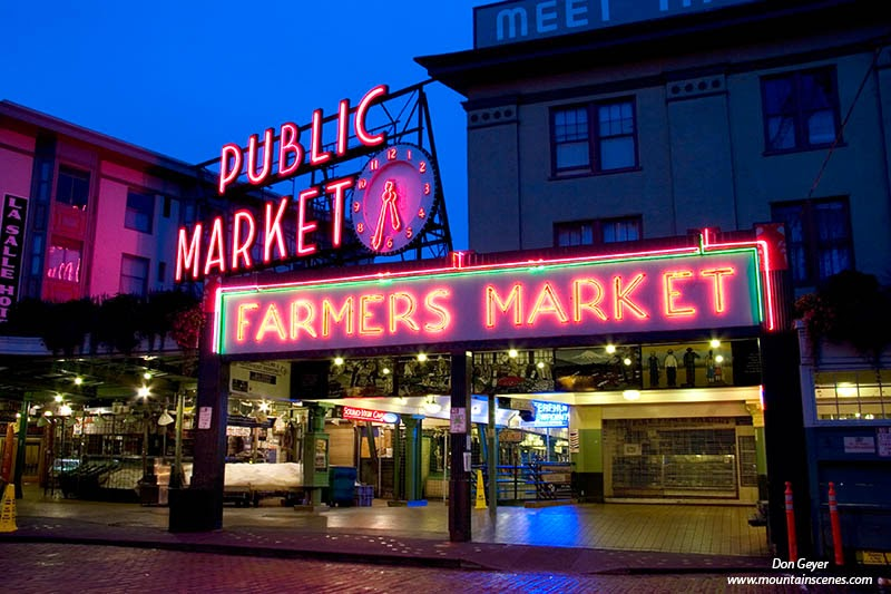 Pike Place Market in Seattle Washington lit up at night.
